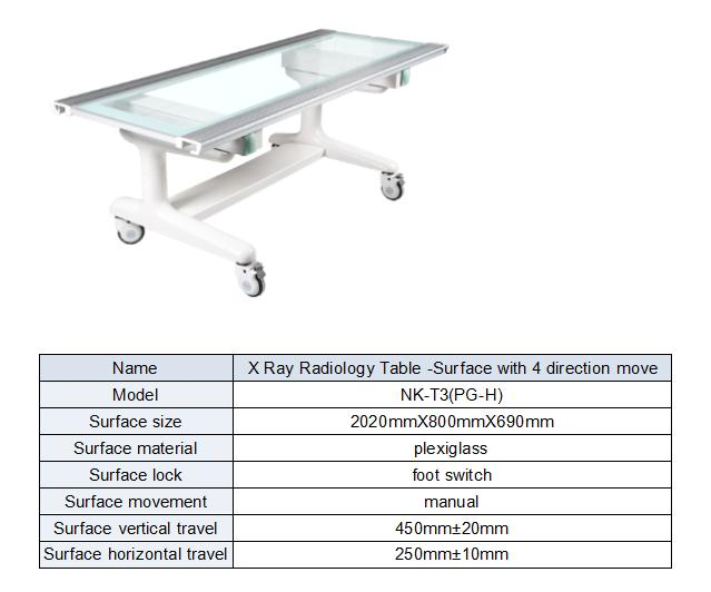 4-way floating table suitable for radiology use form