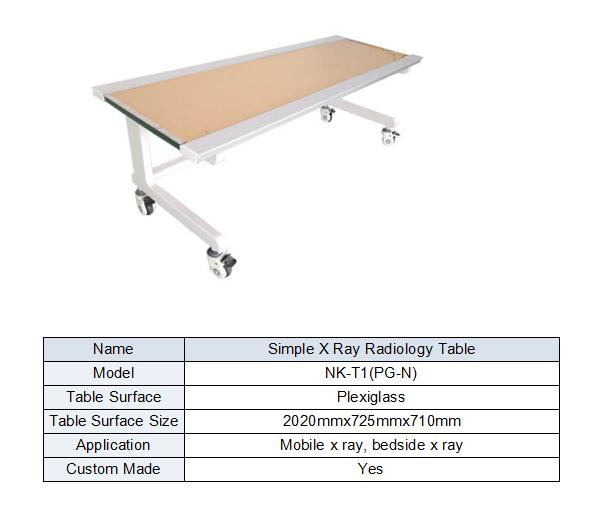 Simple Table Without Bucky Used For X Ray Bedside Machine Form