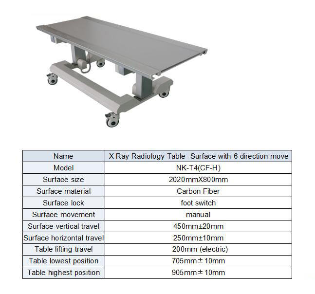 Six way x ray table suitable for radiology use form