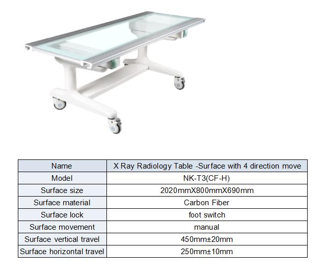 X ray four way floating table by electric control form
