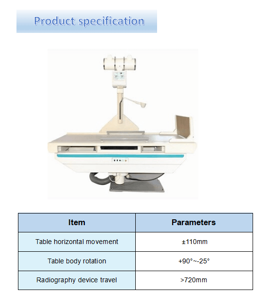 X Ray Remote Controlled Table specification