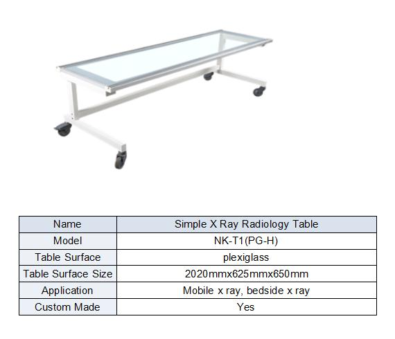X ray simple U arm table form