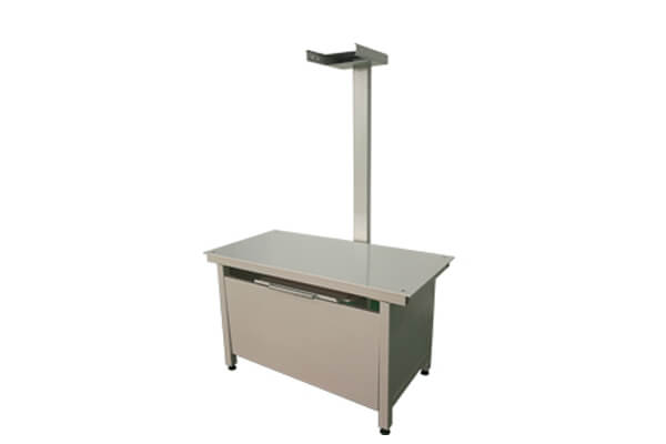 Fixed veterinary X ray table features