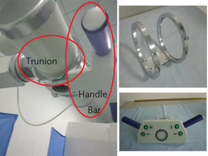 trunion and handle bar for medical x ray table